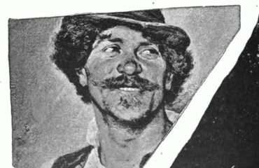 autotipija tehnika štampe - nasmejan čovek sa brkovima