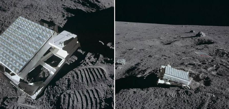 retroreflektori na Mesecu za merenje razdaljine između Meseca i Zemlje